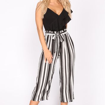 Sail Away Stripe Crop Pants - Black/White