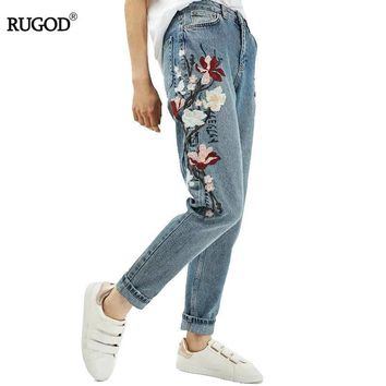 New 2017 Spring Casual Women Jeans High Waist Loose Straight Light Washed Blue Retro Flower Embroidery Jeans Denim Pants