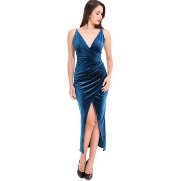 Ladies Blue Velvet Sling V Neck Backless Dresses Sexy Long Split Dress Flannel Winter Party Wear to Work Draped Vestidos Tunics