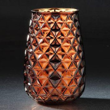 """Gold Copper Glass Floral Vase with Geometric Pattern - 8"""" Tall x 5"""" Wide"""