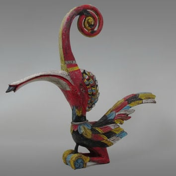 "Borneo Hornbill Sculpture | 14.9"" Tall Bird Wood Carving.Borneo Sacred Majestic Wildlife Tribal Iban Hornbill Effigy. Dayak Kenyalang Statue"