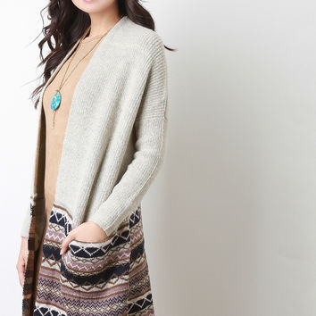 Half Patterned Ribbed Long Cardigan