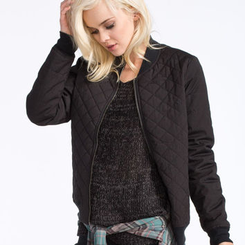 Rvca Mason Womens Quilted Bomber Jacket Black  In Sizes