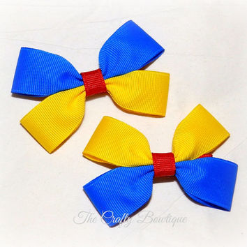 Snow White Inspired ~ Clippie Pigtail Hair Bow Set ~ Red, Yellow and Blue ~ Small Bows ~ Princess Bows ~ Pony Tail Bows ~ Matching Girls