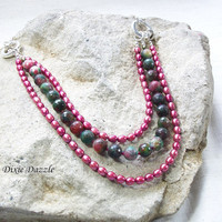 Convertible necklace, wine colored freshwater pearls with green agate, natural stone jewelry, artisan jewelry by Dixie Dazzle, made in USA