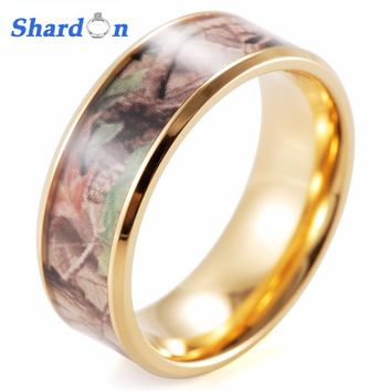 SHARDON Titanium Beveled His & Hers Mossy Oak Camo Gold Color Plated TITANIUM Wedding Bands Rings Hunting Army Camouflage