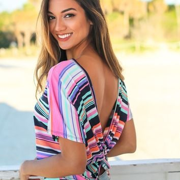 Multi Colored Short Sleeve Top with Open Back
