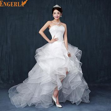 2016 Top Selling Wedding Dress Cheap Chinese Lace Front Short Long Back Wedding Gown Sweet Bride Dress With Tail Under 100 D83