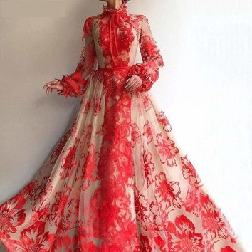 Red High Collar Long Sleeves Handmade Flowers Evening Ball Prom Gown Floral Dress