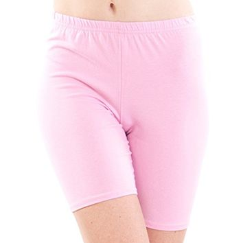 Ladies Mid Thigh Cotton Spandex Active Shorts, USA Made,Mutiple Colors