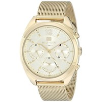 Tommy Hilfiger Womens 1781488 Multi-Function Gold Mesh Watch