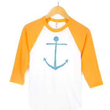 Anchor Hand STENCILED Deep Crew Neck 3/4 Sleeve Womens Raglan Tee in Neon Orange Blue and White - S M L XL 2XL