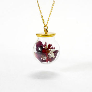 Glass Bottle Necklace, Natural Dried Flower, Dried Rose, Gold Chain, Simple Cool Necklace