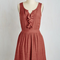 Mid-length Sleeveless A-line Window Shopping Chic Dress in Brick