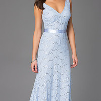 Sleeveless Long V-Neck Lace Prom Dress by Bee Darlin