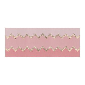 "Monika Strigel ""Avalon Coral Ombre"" Pink Chevron Bed Runner"