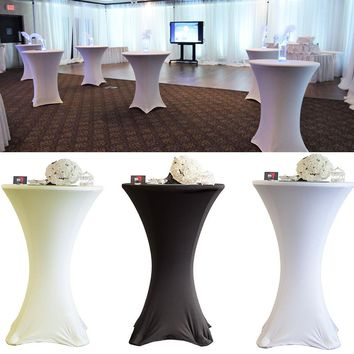White/Black Round Based Stretch Bar Cocktail Lycra Dry Bar Spandex Table Cover Tablecloth Hotel Wedding Event Party Decor 60cm