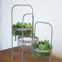 3 Tiered Rotating Wire Storage Baskets