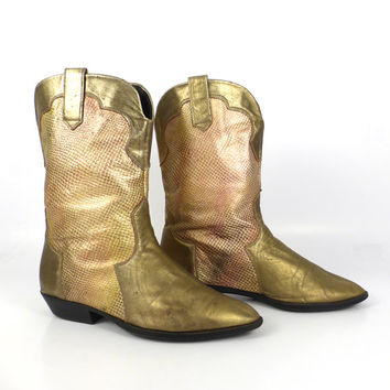 Gold Cowboy Boots Vintage 1980s Copper Metallic Faux Lizard Leather Women's size 10