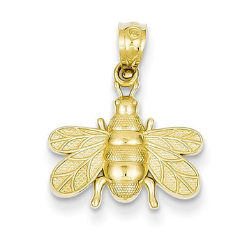 14k Yellow Gold Solid Bee Pendant