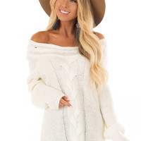 Cream Off the Shoulder Knit Sweater with Braided Detail