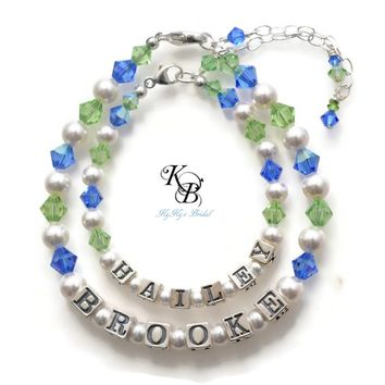 Mother Daughter Bracelet Set, Sterling Silver, Mommy and Me Jewelry, Birthstone Bracelet, Mothers Jewelry, Personalized Jewelry | KyKy's Bridal, Handmade Bridal Jewelry, Wedding Jewelry