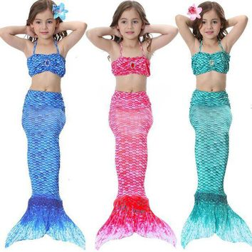 CREY6F Sinomart 2017 3pcs Girl's Mermaid Tail Dress Cosplay Costume Fashion Multicolor Children Mermaid Swimsuit Princess Bikini Set