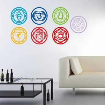 Chakras Stickers Health Aum Meditation Yoga Meditation Symbol Art Wall Decals Home Decoration Mantra Meditation Carved Stickers