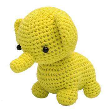 Light-Yellow Elephant Handmade Amigurumi Stuffed Toy Knit Crochet Doll VAC