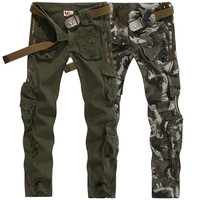 Army outdoor survival pants casual men's Straight trousers climbing overalls hike pants Hunting Hiking Multi-pocket trousers
