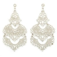 RHINESTONE FILIGREE CHANDELLIER EARRINGS