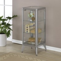 Kidder collection silver large 2 shelf glass and metal display cabinet