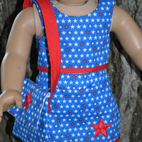"""American Girl Doll Clothes, 18"""" Doll clothes- 4th of July 3 pc star outfit"""