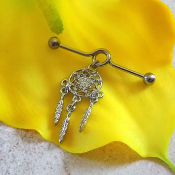 Dream Catcher Cartilage on Industrial Barbell Body Jewelry