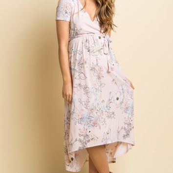 Light-Pink-Floral-Hi-Low-Wrap-Dress