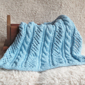 Organic Cotton Cable and Lace Swaddle Blanket Ready to Ship