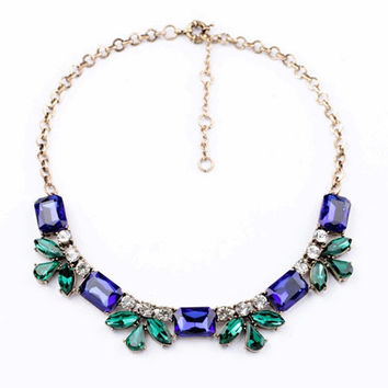 2 colors crystal statement necklace flower statement necklace bib necklace chunky statement necklace choker necklace jewelry cheap necklace