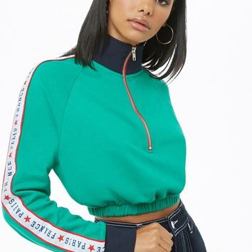 Zip-Front Graphic Trim Pullover