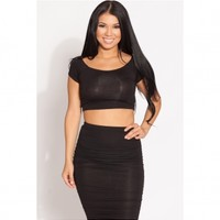 Black Scoop Neck Crop Top @ Cicihot Top Shirt Clothing Online Store: Dress Shirt,Sexy Womens Shirt,T Shirts,Corset Dress,White T Shirt,Girl T Shirt,Short sleeve top