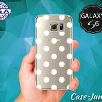 White Ombre Polka Dot Pattern Cute Classic Vintage Wanelo Case for Clear Rubber Samsung Galaxy S6 and Samsung Galaxy S6 Edge Clear Cover