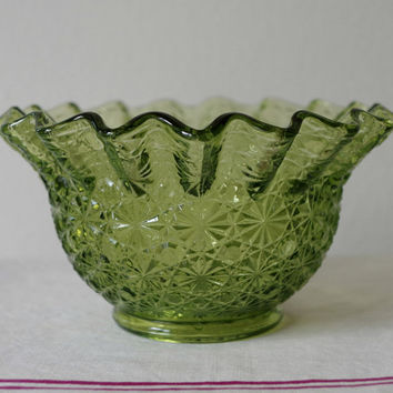 Vintage Fenton Green Glass Bowl- Daisy and Button Pattern- Ruffled Rim Candy Dish- Christmas Home Decor