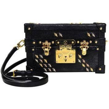PEAPYD9 Louis Vuitton Black Lizard Studded Petite Malle Crossbody Bag with Box