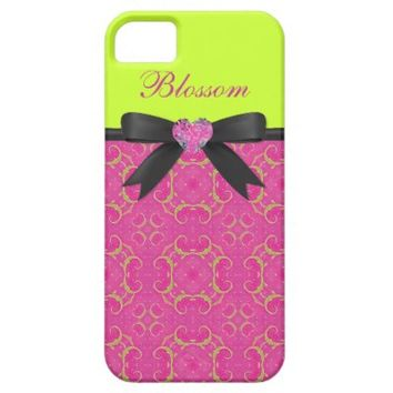 Monogram, Pink & Neon pattern iPhone 5/5S Case