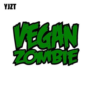 YJZT 9.4x6.2cm Vegan ZOMBIE Funny Health Retro-reflective Car-styling Car Stickers Decals C1-8067