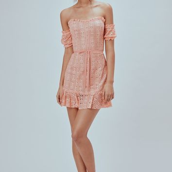 FOR LOVE & LEMONS | Dakota Lace Mini Dress - Peach