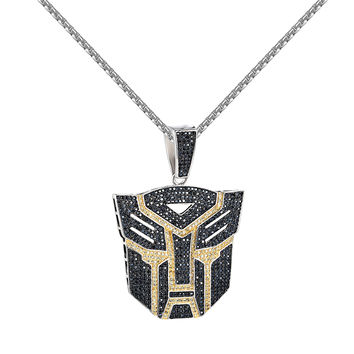 14k White Gold Tone Transformer Pendant Hip Hop Rapper Style Free Necklace