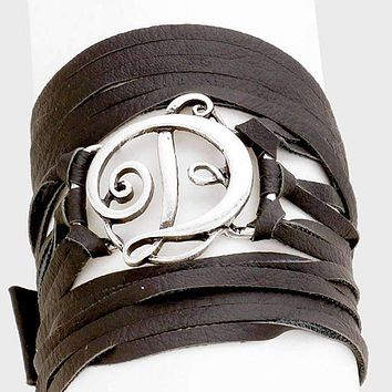 D Monogram Faux Leather Wrap Bracelet
