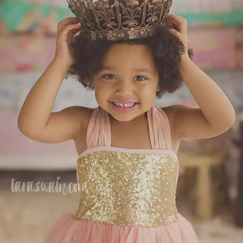 Flower girl dress, gold flower girl dress, baby dress, rustic girl dress, Pink flower girl dress, vintage flower girl, Pink gold dress, baby