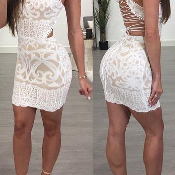 New White Patchwork Embroidery Drawstring Band Collar Sweet Mini Dress