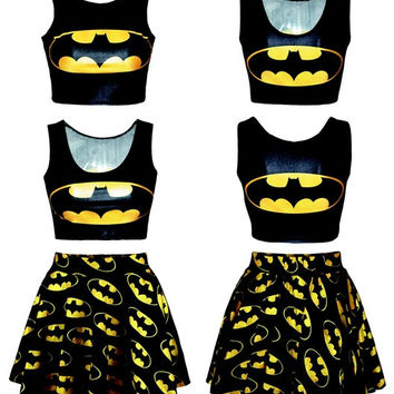 Fashion Women's Batman Digital Print Skirt Reversible Crop Top + Skirt 2 pieces vintage Clubwear Party Mini Skirt = 1927941316